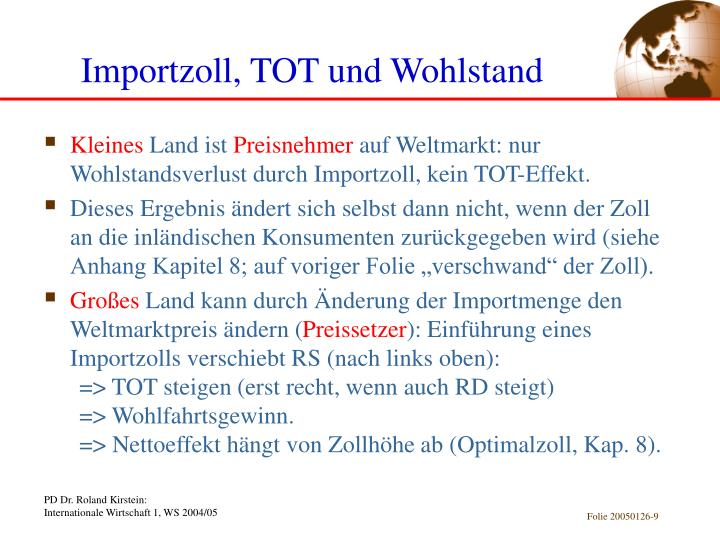 Importzoll, TOT und Wohlstand