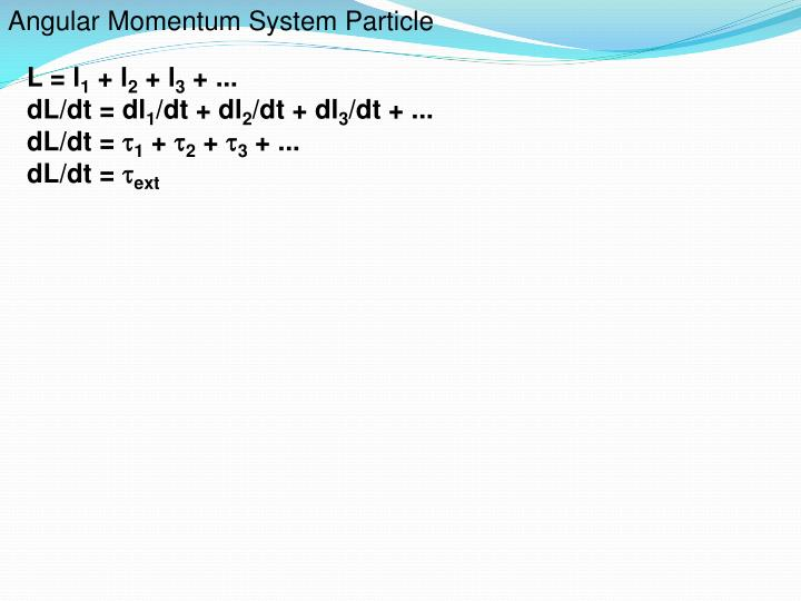 Angular Momentum System Particle