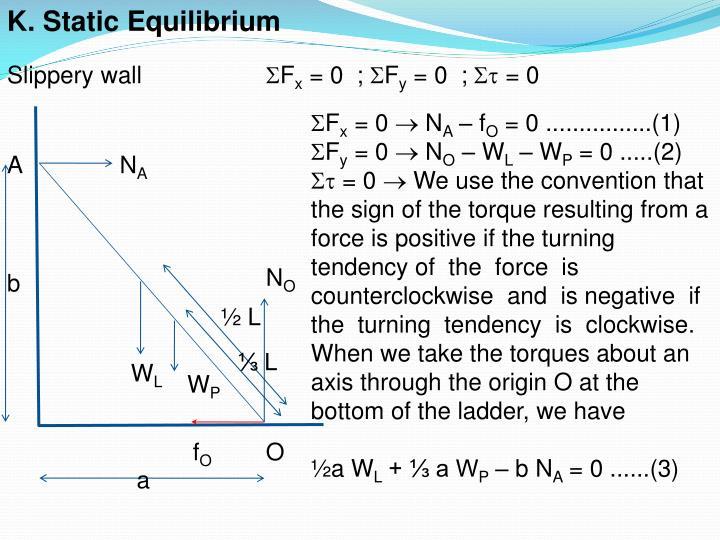 K. Static Equilibrium