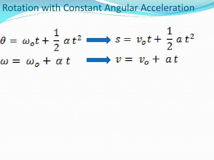 Rotation with Constant Angular Acceleration