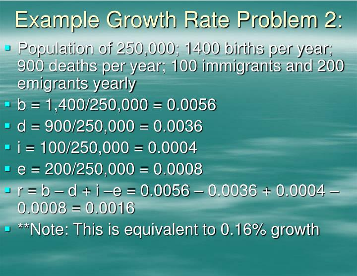Example Growth Rate Problem 2: