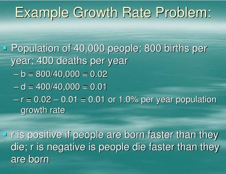 Example Growth Rate Problem: