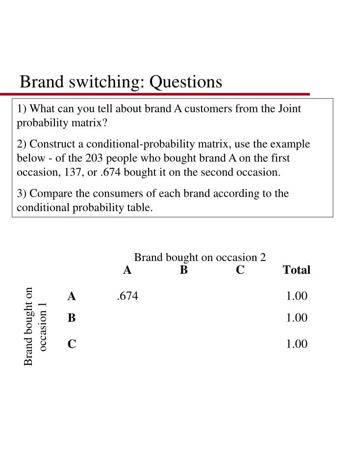 Brand switching: Questions