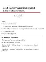 idea selection screening internal index of attractiveness