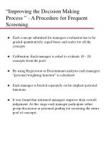 improving the decision making process a procedure for frequent screening