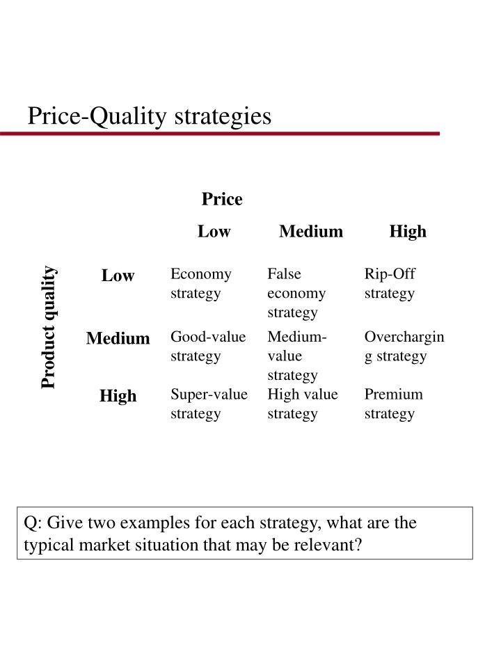 Price-Quality strategies