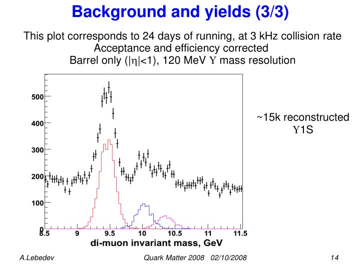 Background and yields (3/3)