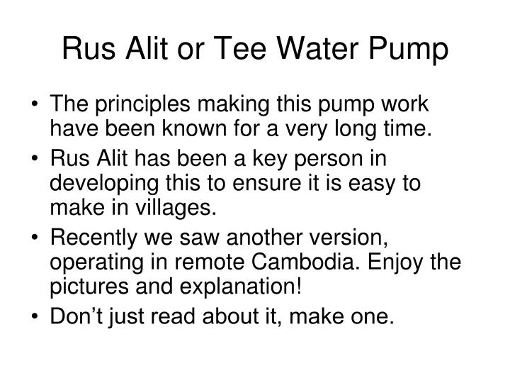 Rus alit or tee water pump