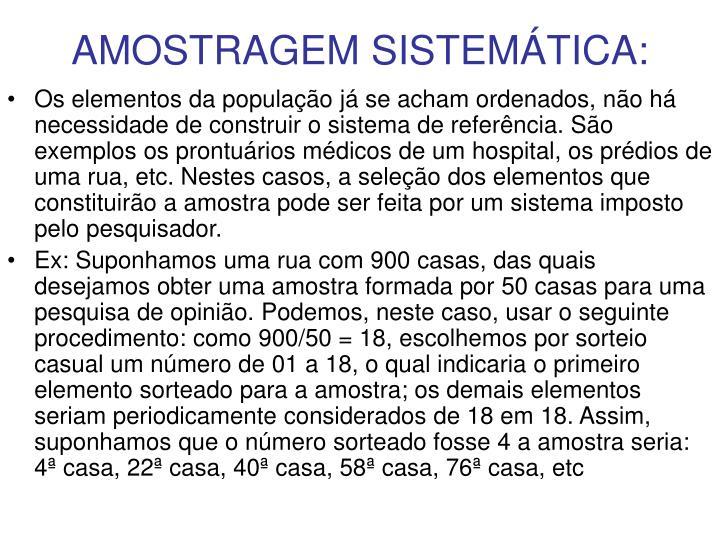 AMOSTRAGEM SISTEMÁTICA: