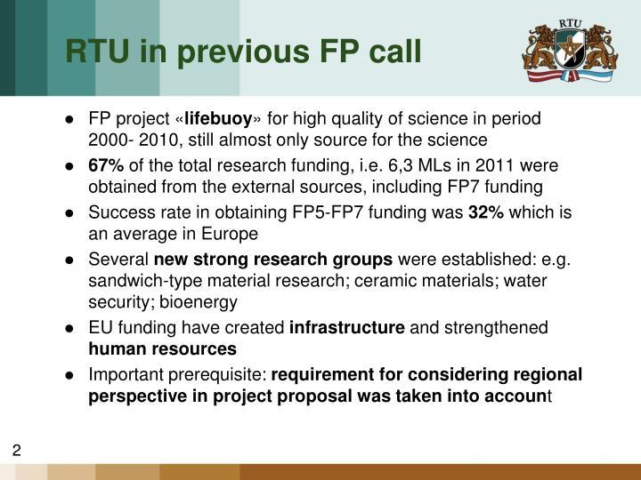 RTU in previous FP call