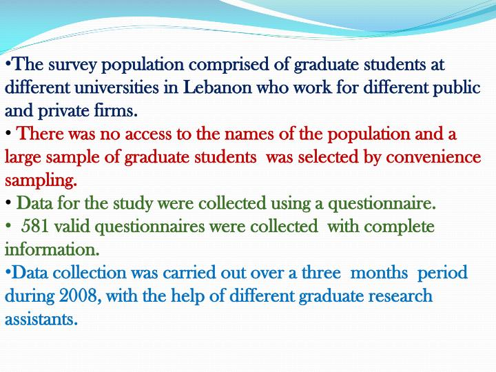 The survey population comprised of graduate students at different universities in Lebanon who work for different public and private firms.