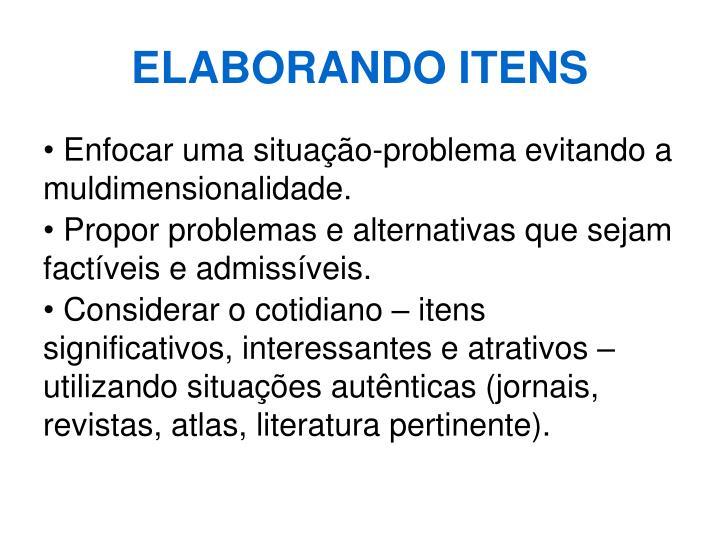 ELABORANDO ITENS