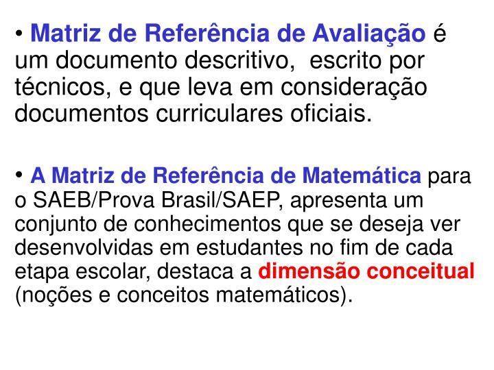 Matriz de Referência de Avaliação