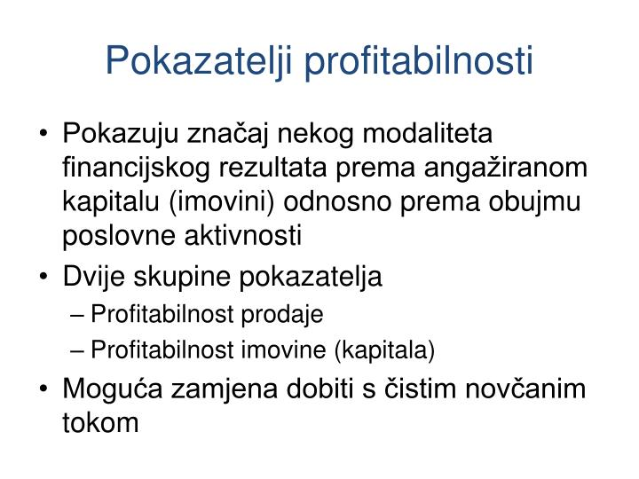 Pokazatelji profitabilnosti