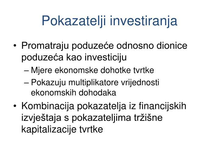 Pokazatelji investiranja