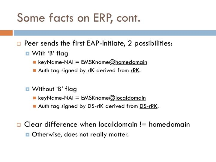Some facts on ERP, cont.