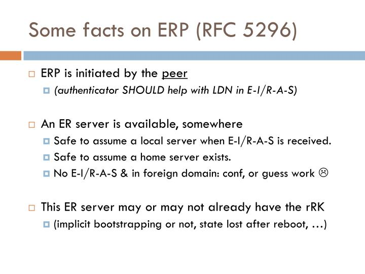 Some facts on ERP (RFC 5296)