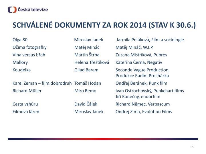 SCHVÁLENÉ DOKUMENTY ZA ROK 2014 (STAV K 30.6.)