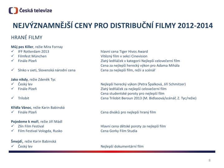 NEJVÝZNAMNĚJŠÍ CENY PRO DISTRIBUČNÍ FILMY 2012-2014