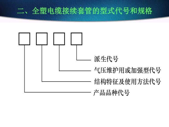二、全塑电缆接续套管的型式代号和规格