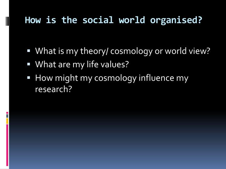 How is the social world organised?