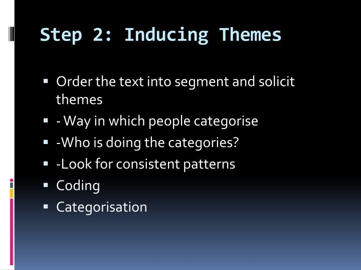 Step 2: Inducing Themes