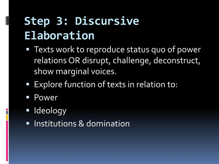 Step 3: Discursive Elaboration