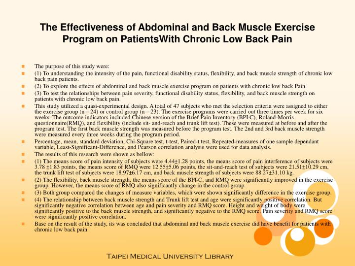 The Effectiveness of Abdominal and Back Muscle Exercise Program on PatientsWith Chronic Low Back Pai...