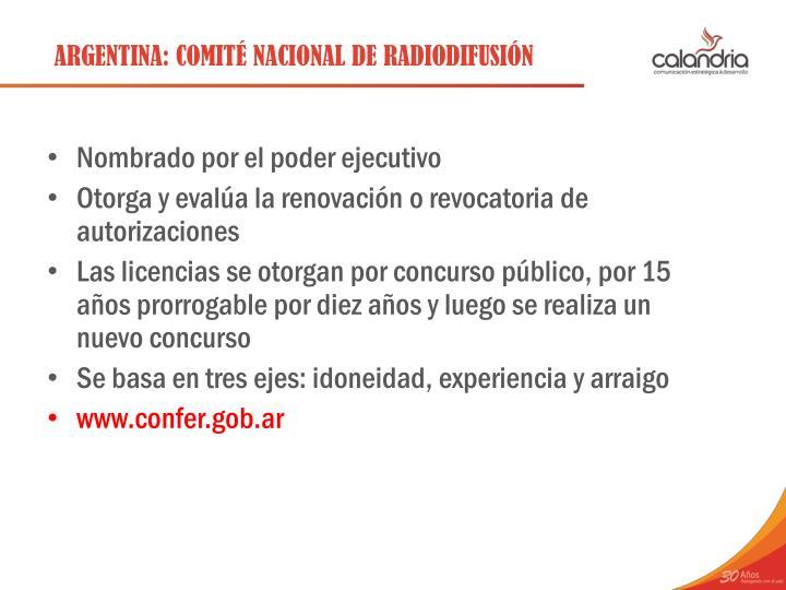 ARGENTINA: COMITÉ NACIONAL DE RADIODIFUSIÓN