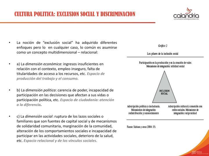 CULTURA POLITICA: EXCLUSION SOCIAL Y DISCRIMINACION