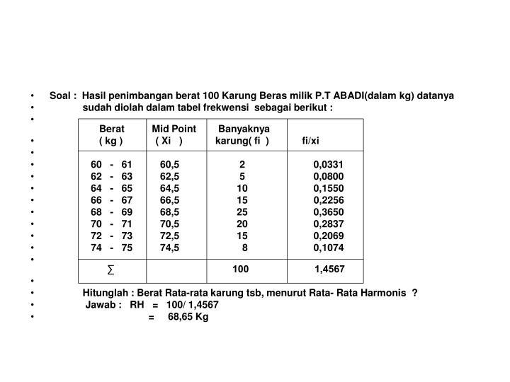 Soal :  Hasil penimbangan berat 100 Karung Beras milik P.T ABADI(dalam kg) datanya
