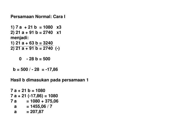 Persamaan Normal: Cara I