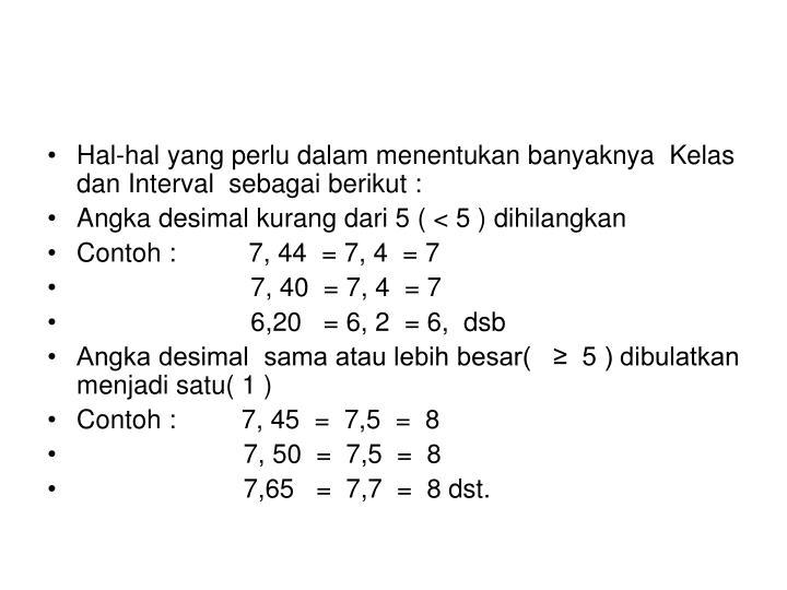 Hal-hal yang perlu dalam menentukan banyaknya  Kelas  dan Interval  sebagai berikut :