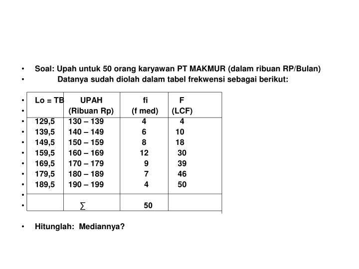 Soal: Upah untuk 50 orang karyawan PT MAKMUR (dalam ribuan RP/Bulan)