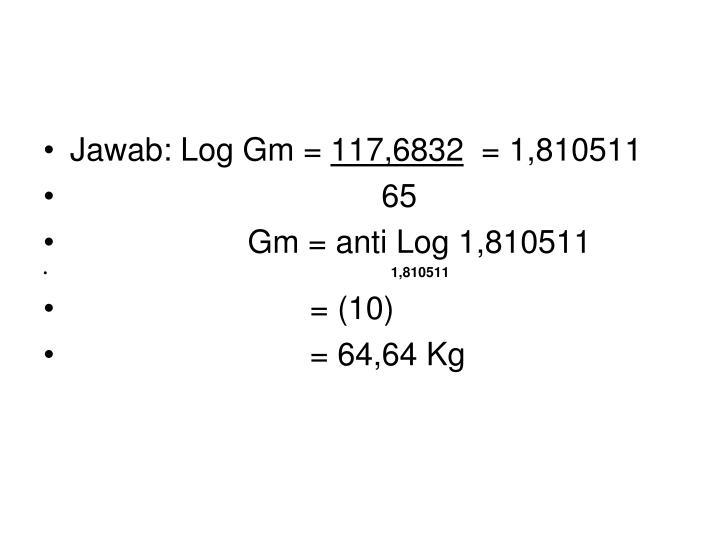 Jawab: Log Gm =