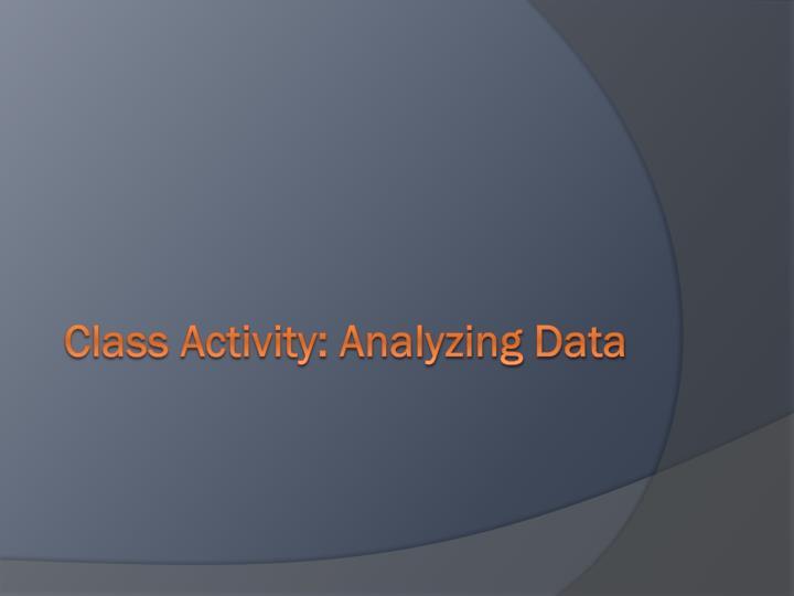 Class Activity: Analyzing Data
