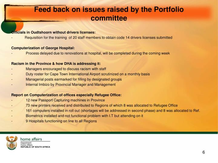 Feed back on issues raised by the Portfolio committee