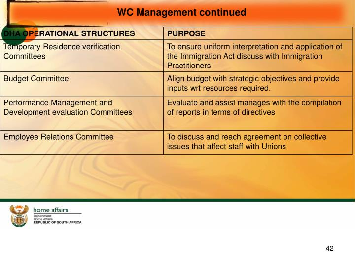 WC Management continued