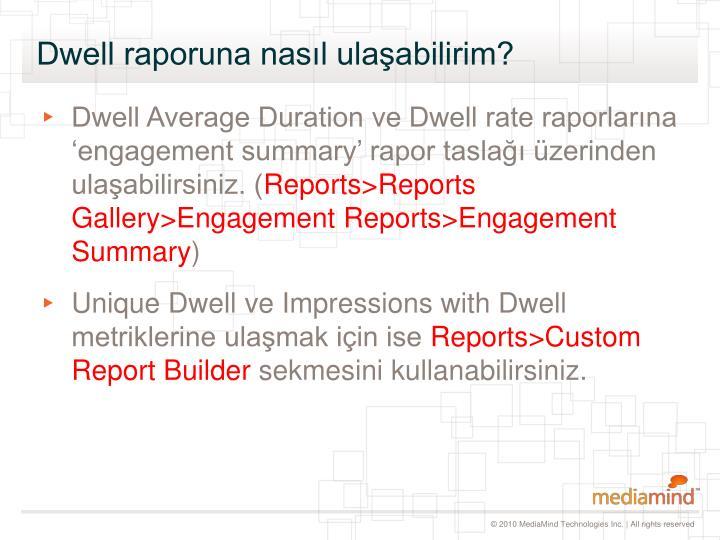 Dwell raporuna nasıl ulaşabilirim?