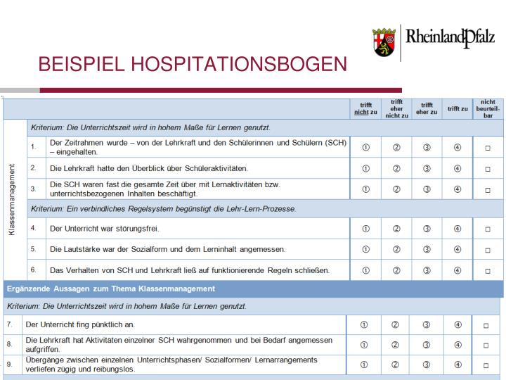 Beispiel Hospitationsbogen