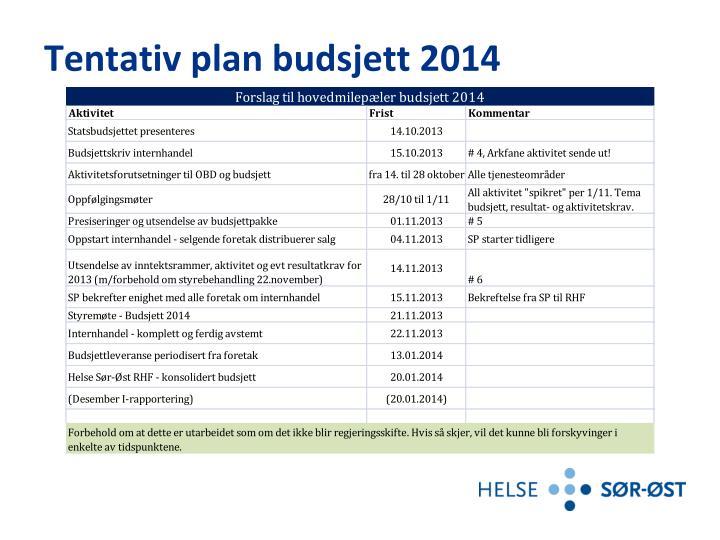 Tentativ plan budsjett 2014