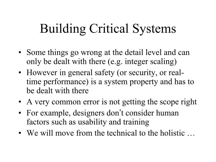 Building Critical Systems