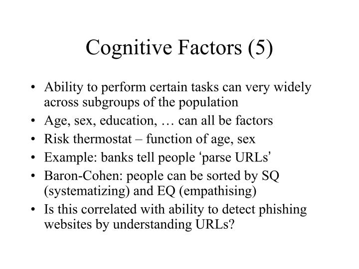 Cognitive Factors (5)