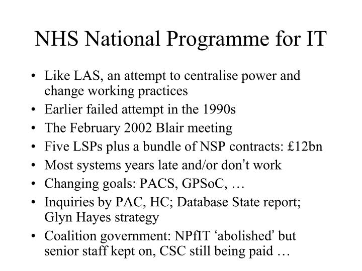 NHS National Programme for IT