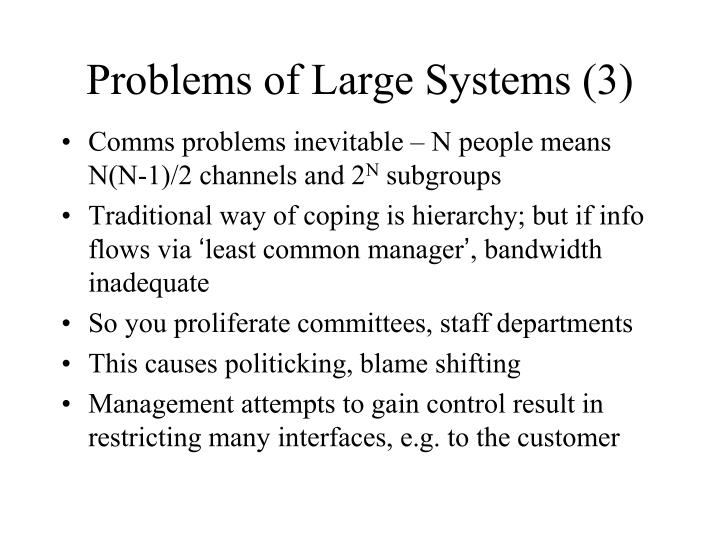 Problems of Large Systems (3)