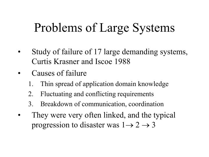 Problems of Large Systems
