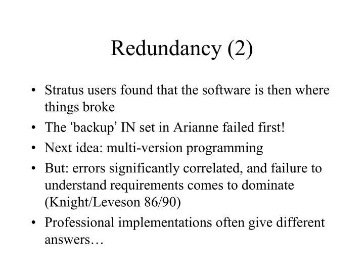 Redundancy (2)