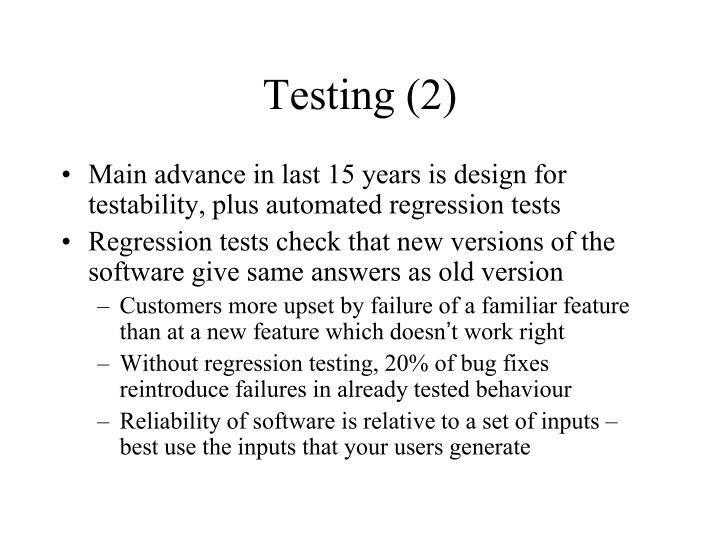 Testing (2)