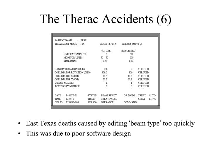 The Therac Accidents (6)