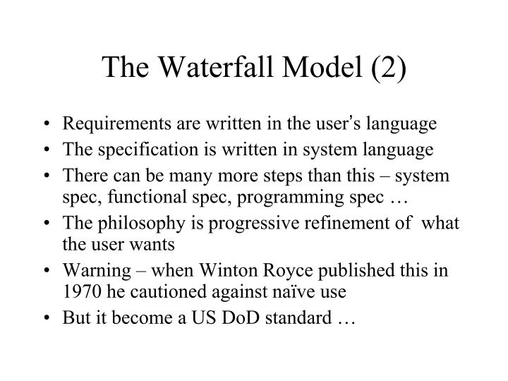 The Waterfall Model (2)